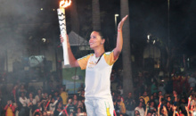 Ingerul Victoria's Secret a plans la ceremonia de aprindere a tortei olimpice