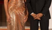 Michelle Obama, senzatie imbracata de Donatella Versace, la ultimul dineu de stat de la Casa Alba